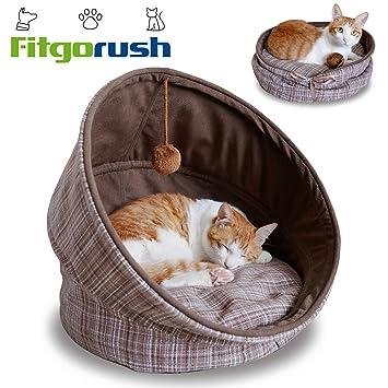 Fitgorush Cama para Gato Perro Mascota Nido Semicerrada Plegable con Bolita de Lana Divertido Caseta Casa