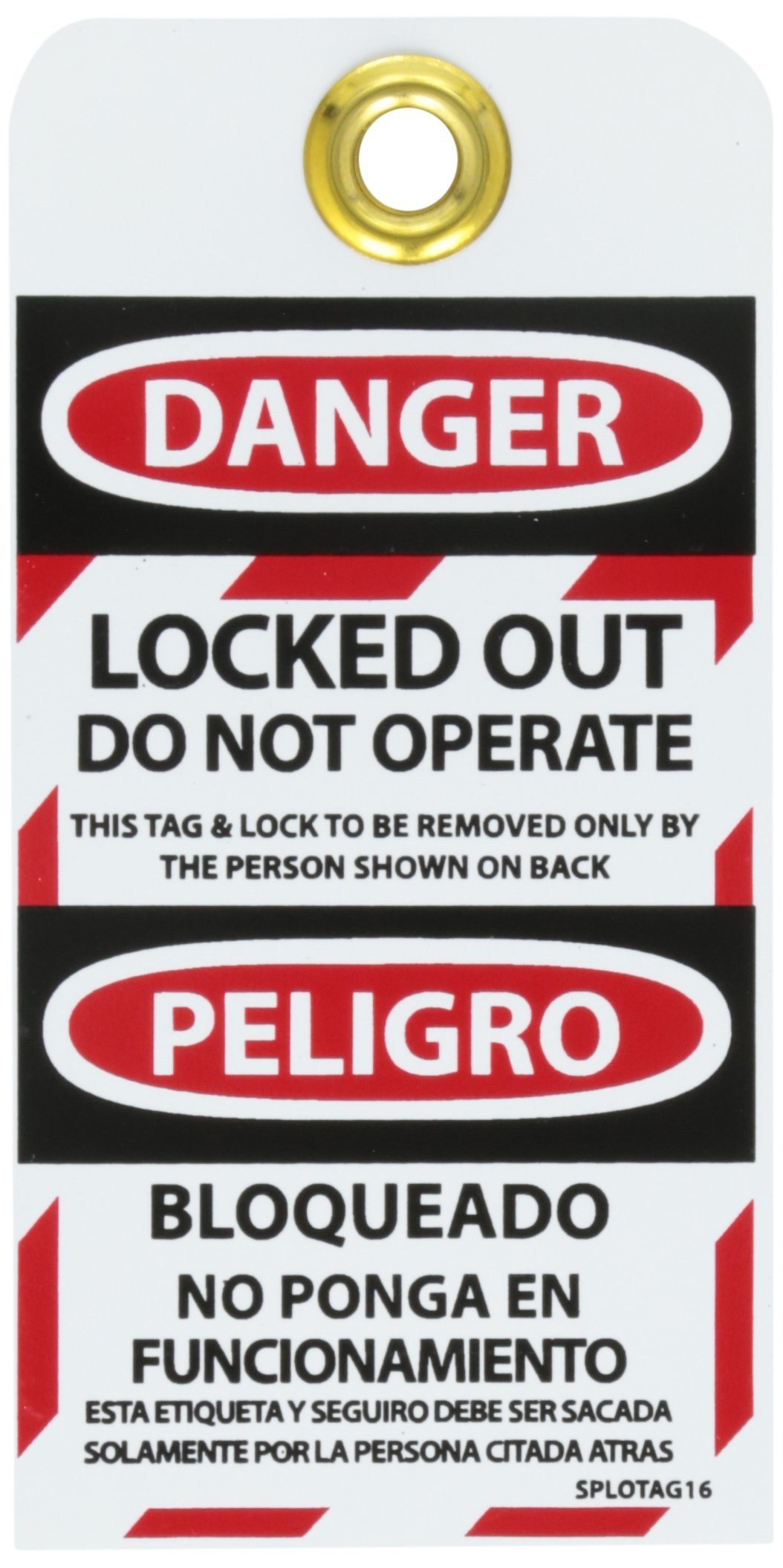 NMC SPLOTAG16''Danger - Locked-Out DO NOT Operate Bilingual Lockout Tag, Unrippable Vinyl, 3'' Length, 6'' Height, Black/Red on White (Pack of 10) by NMC