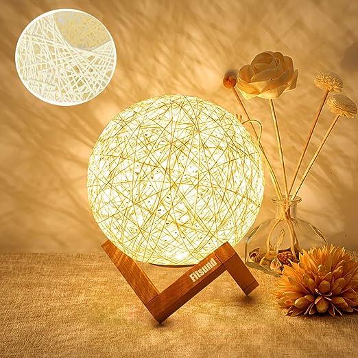 Fitlife Nachttischlampe Kreativ Holzbasis Nachtlicht Fur Schlafzimmer Dekor Stimmung Licht Mit Holzhalterung Led Lampe Modern Rattan Usb Amazon De Beleuchtung