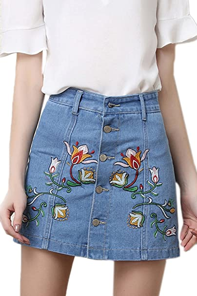 49eeb20de Suvotimo Women Summer Casaul A-line Mini Denim Skirt Button up Skirts Plus  Size: Amazon.co.uk: Clothing