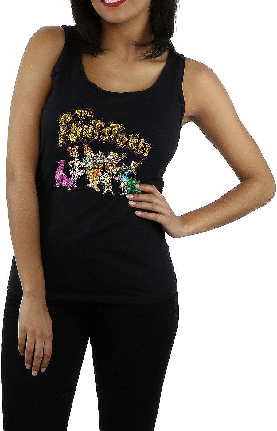 The Flintstones Womens Group Distressed Tank Top Small Black