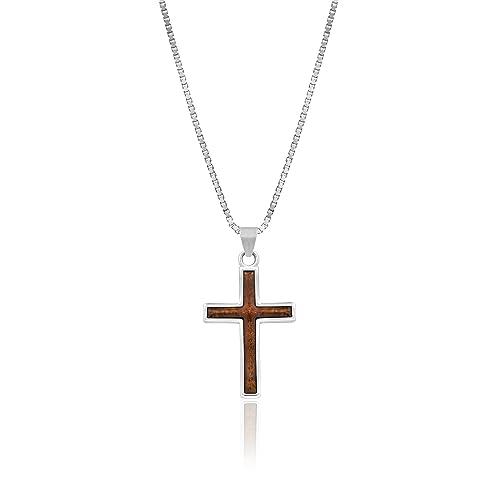 Amazon.com: Plata de ley KOA Madera Simple collar con cruz ...