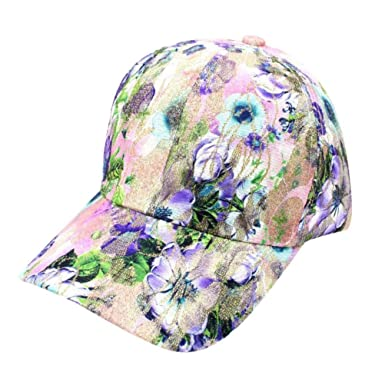 0cca78ae2c3 Beodole Women s New Baseball Cap Floral Pattern Adjustable Sport Outdoor Hat  Hip Hop Trucker Snapback Hat (Blue)  Amazon.co.uk  Clothing