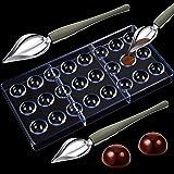 Molde de policarbonato para chocolate, 24 piezas, forma semicírica, molde para hacer chocolate y 2 piezas de postre para deco