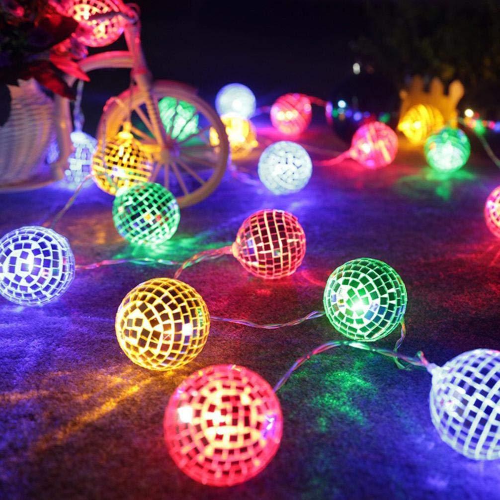 Nightlight,YJYDADA String Lights Moroccan Ball 10/20LED Globe Fairy String Orb Lantern Patio (Colored Light, 1.5m/10led)