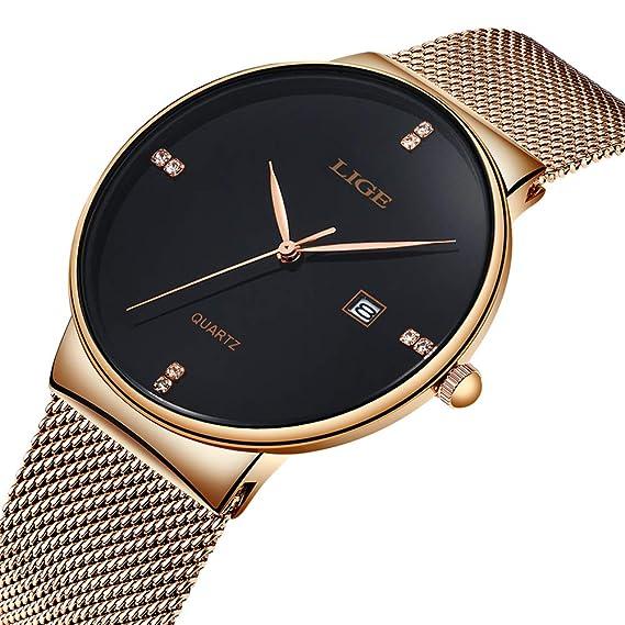 ad277fb70ddc Relojes Hombre Ultra Fino Minimalista Lujo Moda Relojes de Pulsera para Hombres  Impermeable Reloj de Cuarzo para Hombre con Banda Gold de Malla de Acero ...