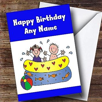 Swimming And Splashing Personalised Childrens Birthday Card Amazon