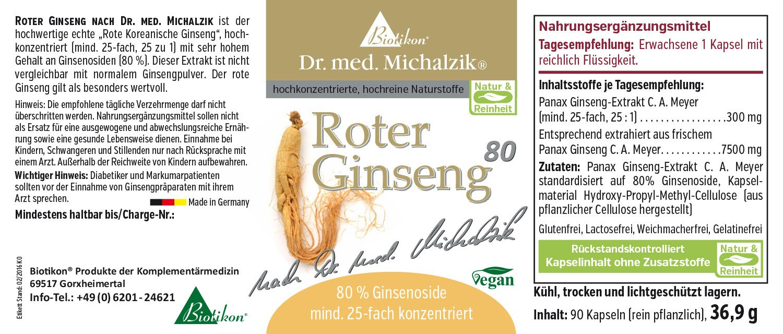 Roja Ginseng según el Dr. Med. Michalzik - sin aditivos, 90 Cápsulas: Amazon.es: Salud y cuidado personal