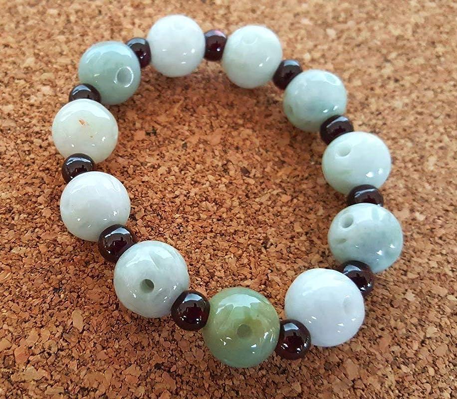Bracelet Natural Burma Jade jadeite Beads Calabash Heart Jewelry Thai Amulet