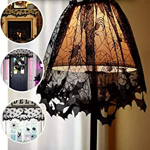 Halloween Lace Halloween Decorations Lamp Shade Cover Halloween Decor Black Spider Web Halloween Lace for Halloween Lamp Decorations Festive Party Supplies, 20 X 60 Inch