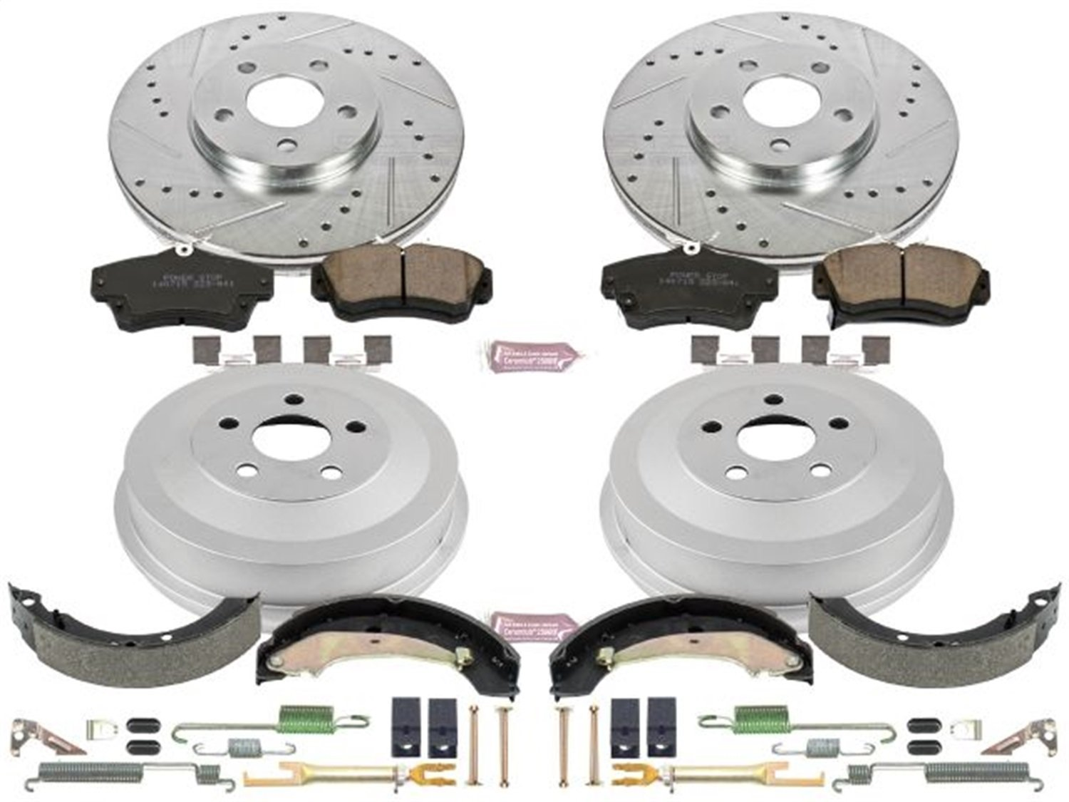 Power Stop Front /& Rear K15101DK Performance Pad Drum and Shoe Kits Rotor