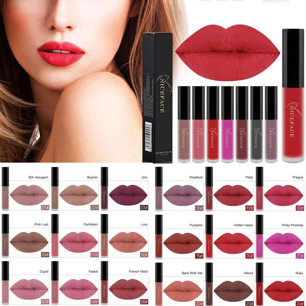 Gonikm 26 Colors Matte Lip Gloss Makeup Cosmetic Long-lasting Lip Tint Lipstick