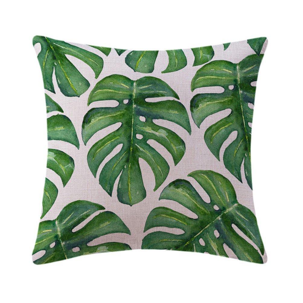 Mrsrui Throw Pillow Covers Cases Decorative Pillowcases Home Car Decorative Cotton Linen Soft and Cozy 18x18 inch (E)