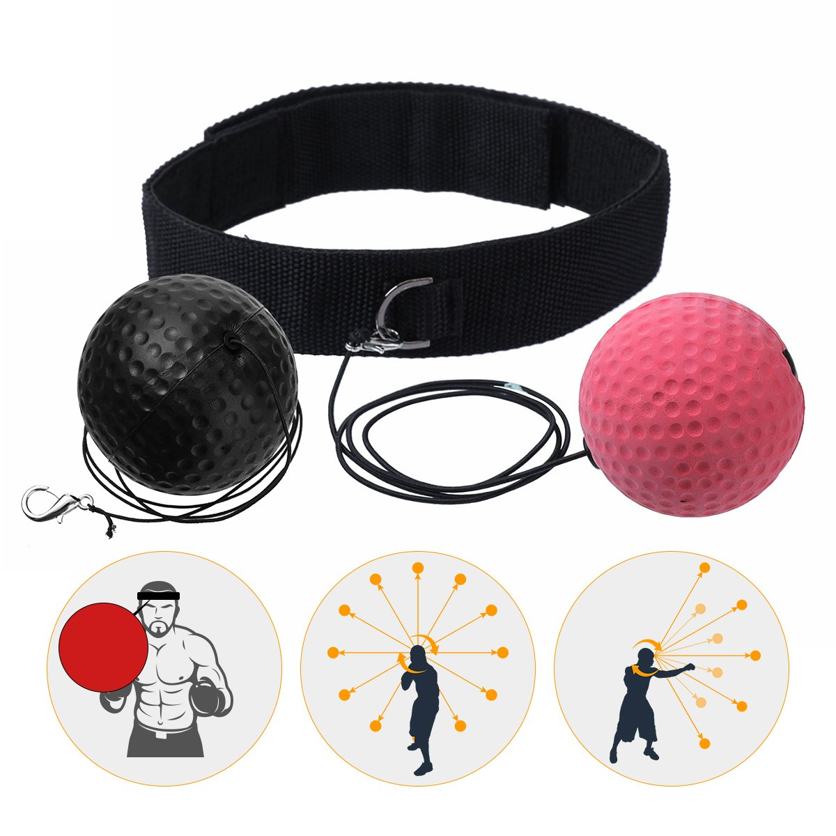 SGODDE Reflejo de Boxeo Ball, Speed Fitness Punch Boxing Ball con Diadema, Dispositivo de Entrenamiento Speedball para Entrenamiento de Boxeo en Casa y al Aire Libre