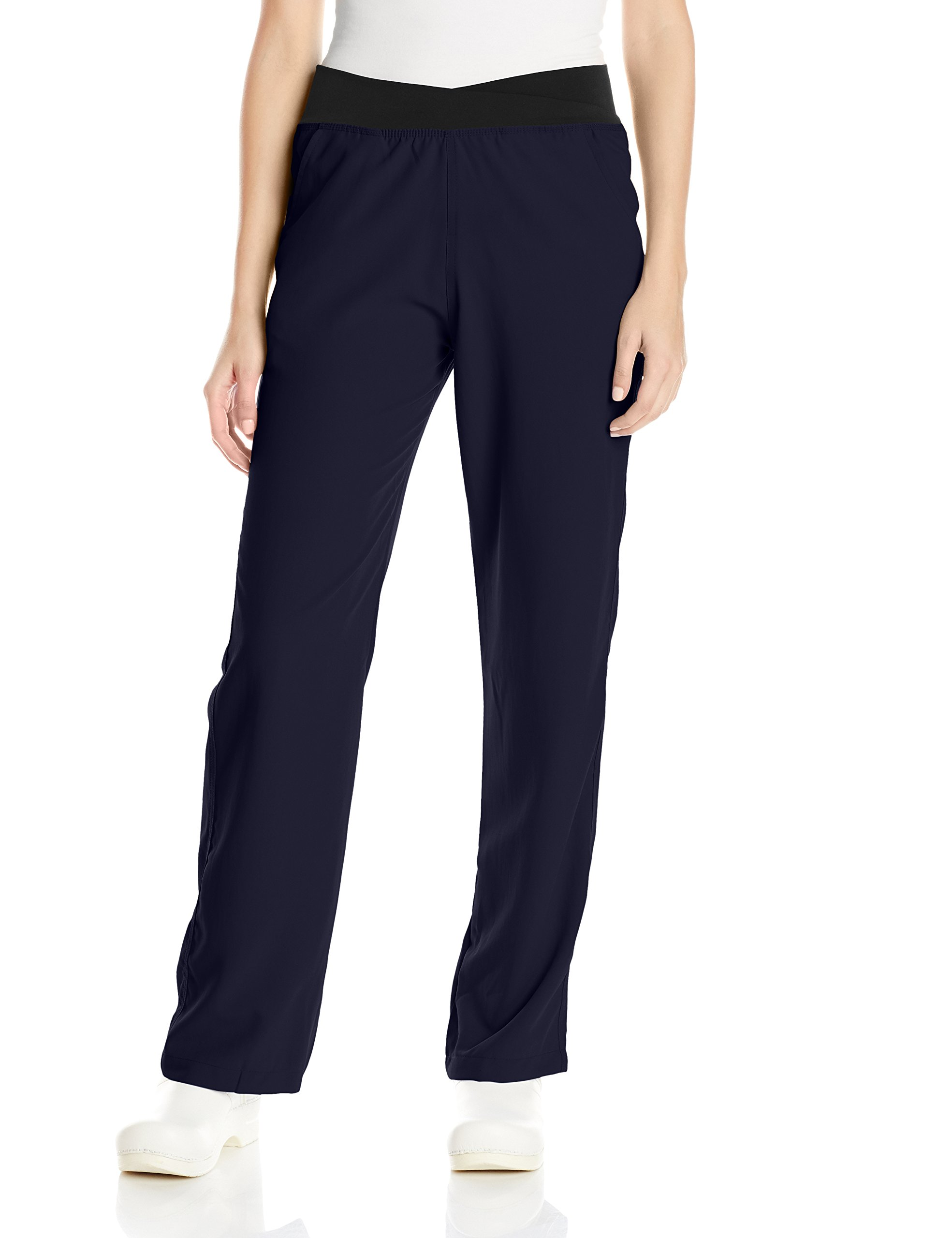 WonderWink Women's Easy Fit Knit Waist Scrub Pant, Navy, Small/Petite