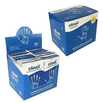 100 x Clinell ANTIBACTERIAS 2 in 1 Manual de acción Limpieza Hidratación Desinfectante SOLO Toallitas MATA 99.999% of Gérmenes: Amazon.es: Deportes y aire ...