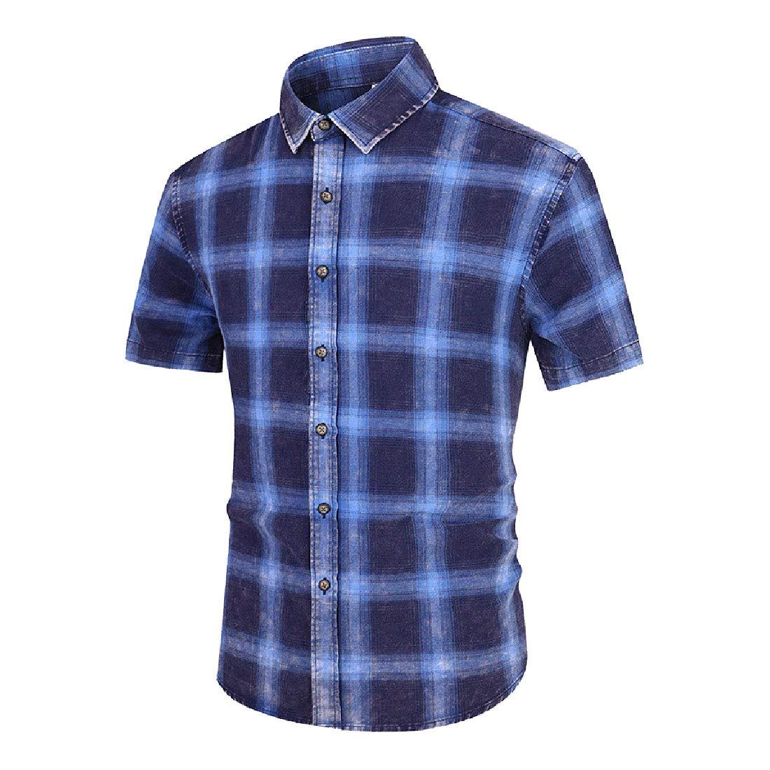 LianXiYou Mens Short-Sleeve Button Down Plaid Cotton Leisure T-Shirts Shirts