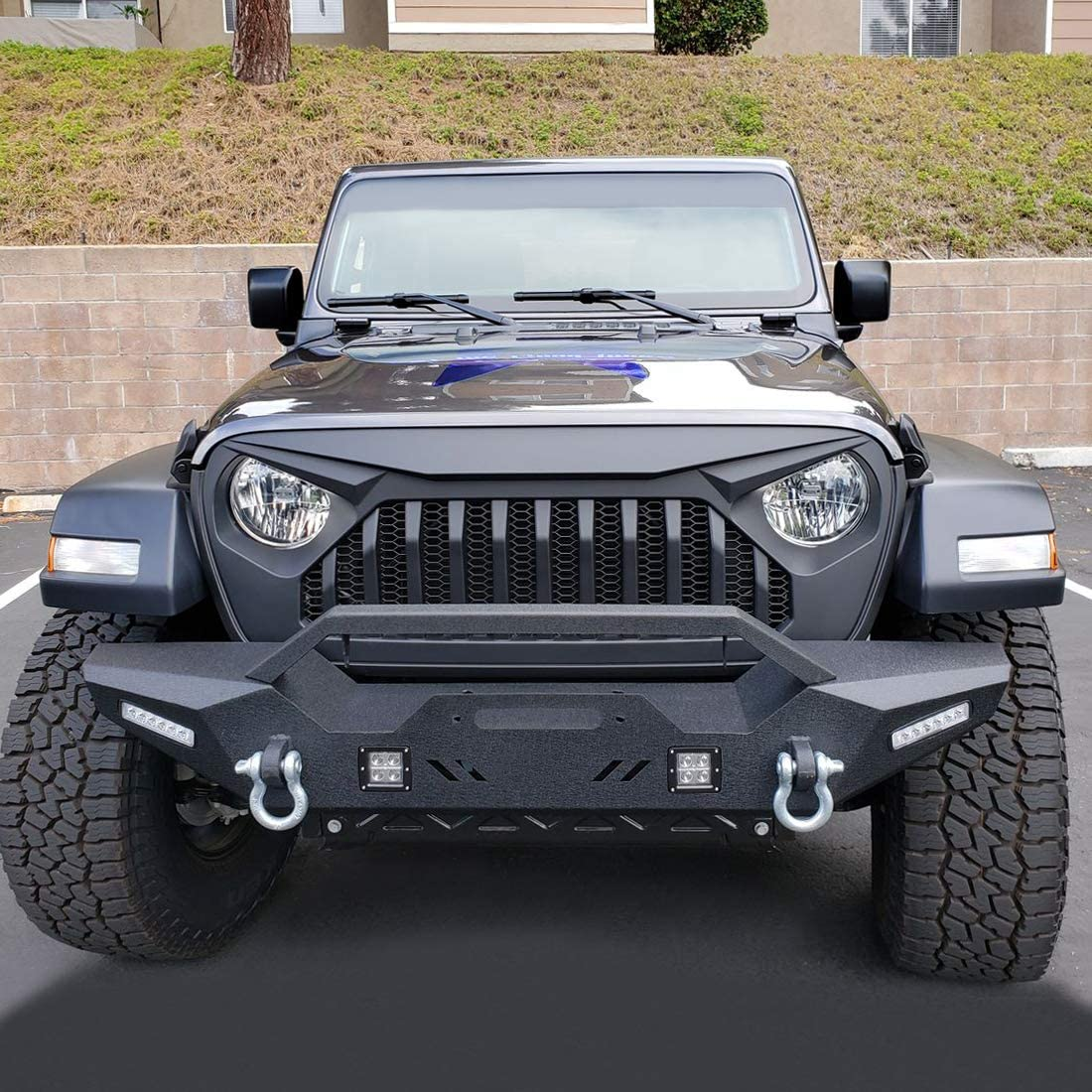 Extreme Off-Road JL Front Grill with Mesh Grille Cover for 2018 2019 2020 Jeep Wrangler JL /& Gladiator JT Matte Black