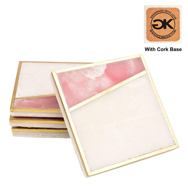 GAURI KOHLI Beautiful Rose Pink Onyx Marble Coasters With Cork Bottom; Embellished With Luxurious Gold Inlay (Large Size | Set of 4) by GAURI KOHLI