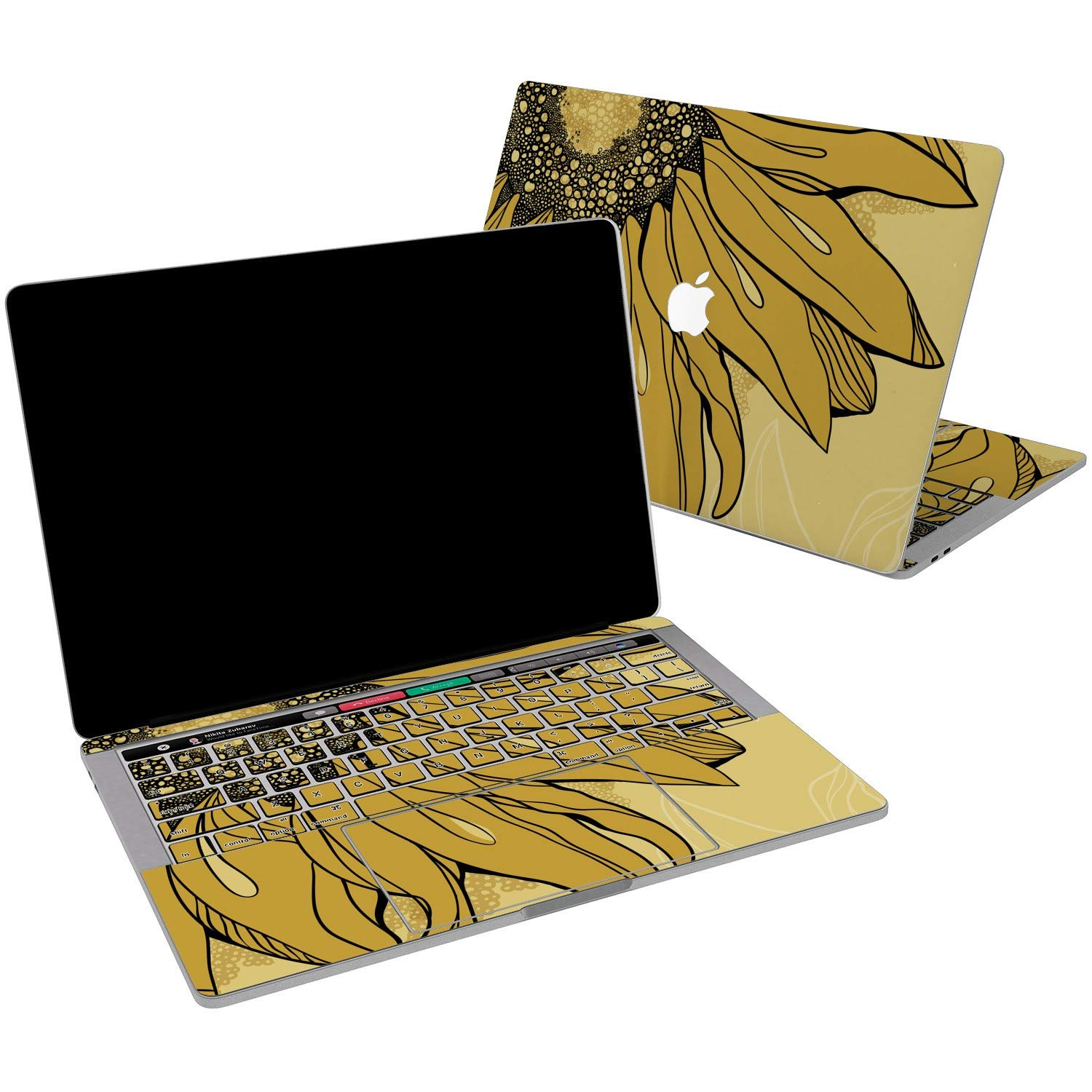 Lex Altern Vinyl Skin for MacBook Air 13 inch Mac Pro 15 Retina 12 11 2019 2018 2017 2016 2015 Sunflower Nature Yellow Summer Floral Drawing Laptop Wrap Cover Keyboard Decal Sticker Touch Bar Design