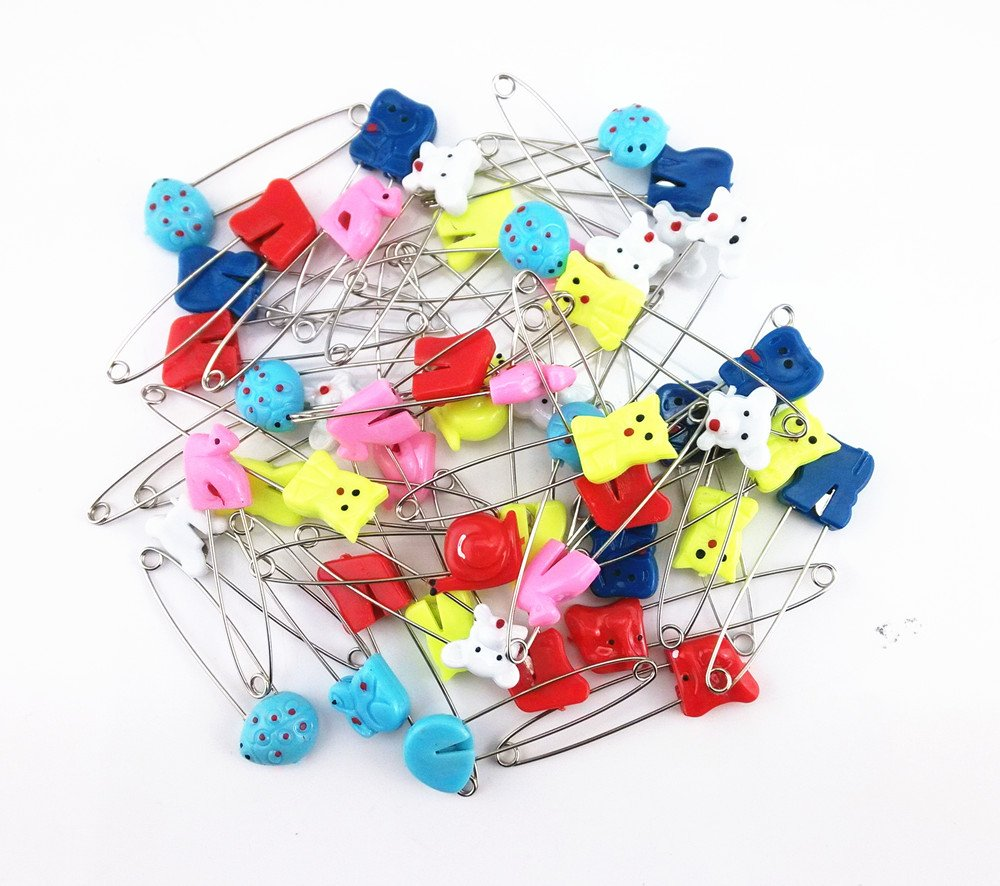 50Pcs Little Baby Plastic Head Cloth Diaper Nappy Pins Locking Cloth Durable