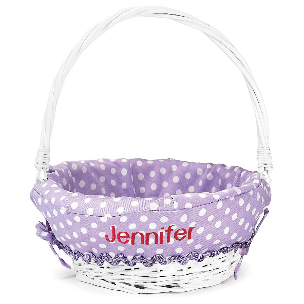 Lillian Vernon Personalized Lavender Easter Basket for Girls & Boys, 11'' x 14'' white wicker basket with Purple Polka Dot Liner, Custom embroidered with your Child's Name