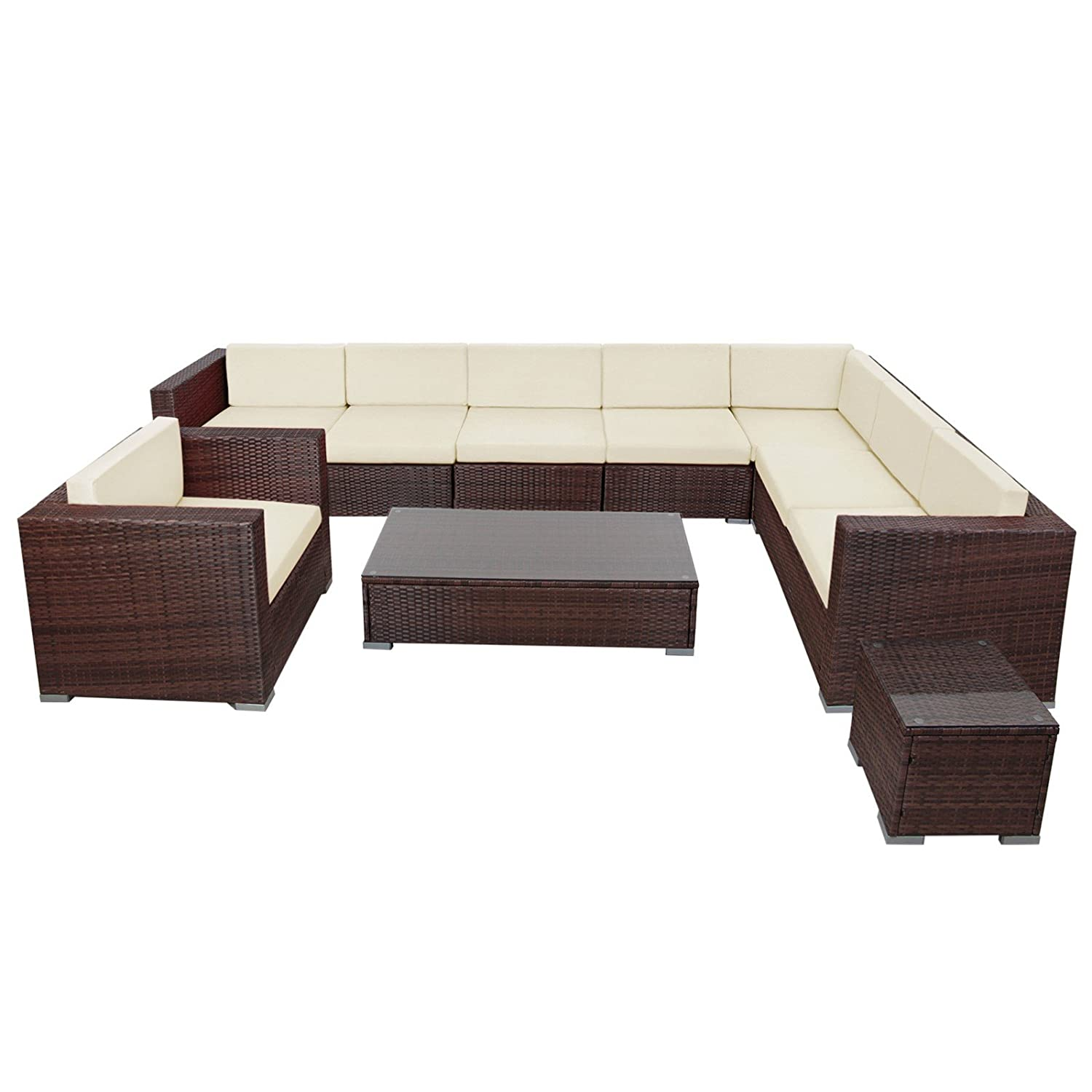 25 teilige poly rattan lounge sitzgruppe havanna. Black Bedroom Furniture Sets. Home Design Ideas