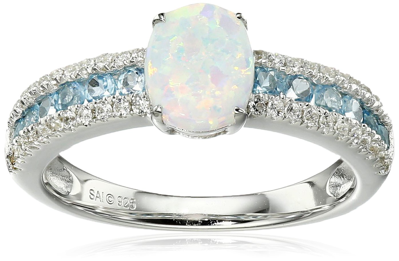 Sterling Silver Created Opal, Swiss Blue Topaz, and Created White Sapphire Ring, Size 7