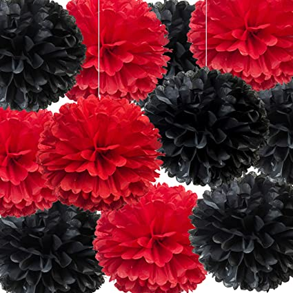 14 Red And Black Tissue Pom Poms Diy Decorative Paper Flowers Ball For Birthday Party Wedding Baby Shower Home Outdoor Hanging Decorations Pack Of