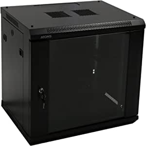 AEONS 12U Professional Wall Mount Network Server Cabinet Enclosure 19-Inch Server Network Rack 16-Inches Deep Black
