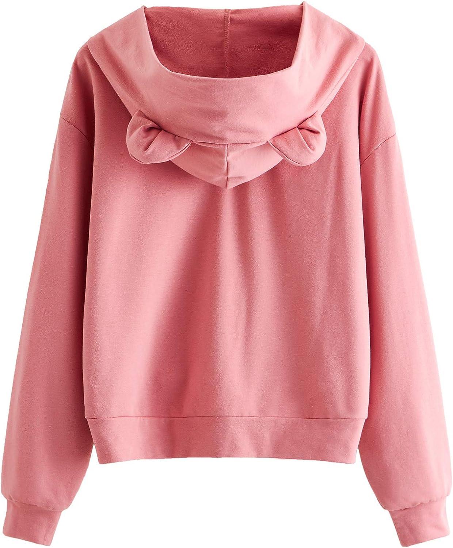 Romwe Womens Cat Print Lightweight Sweatshirt Long Sleeve Casual Pullover Shirt