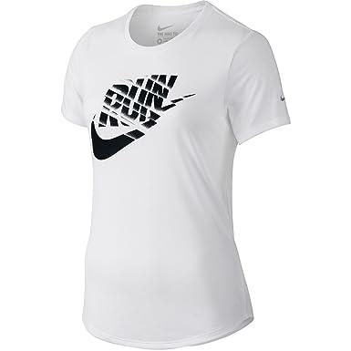 05441d95f4e3 Nike Run Print Orgametric Swoosh Women s T-Shirt White Black 776636-100 (