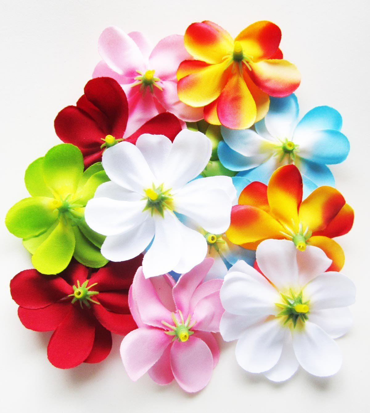 Amazon 24 assorted hawaiian plumeria frangipani silk flower amazon 24 assorted hawaiian plumeria frangipani silk flower heads 3 artificial flowers head fabric floral supplies wholesale lot for wedding izmirmasajfo