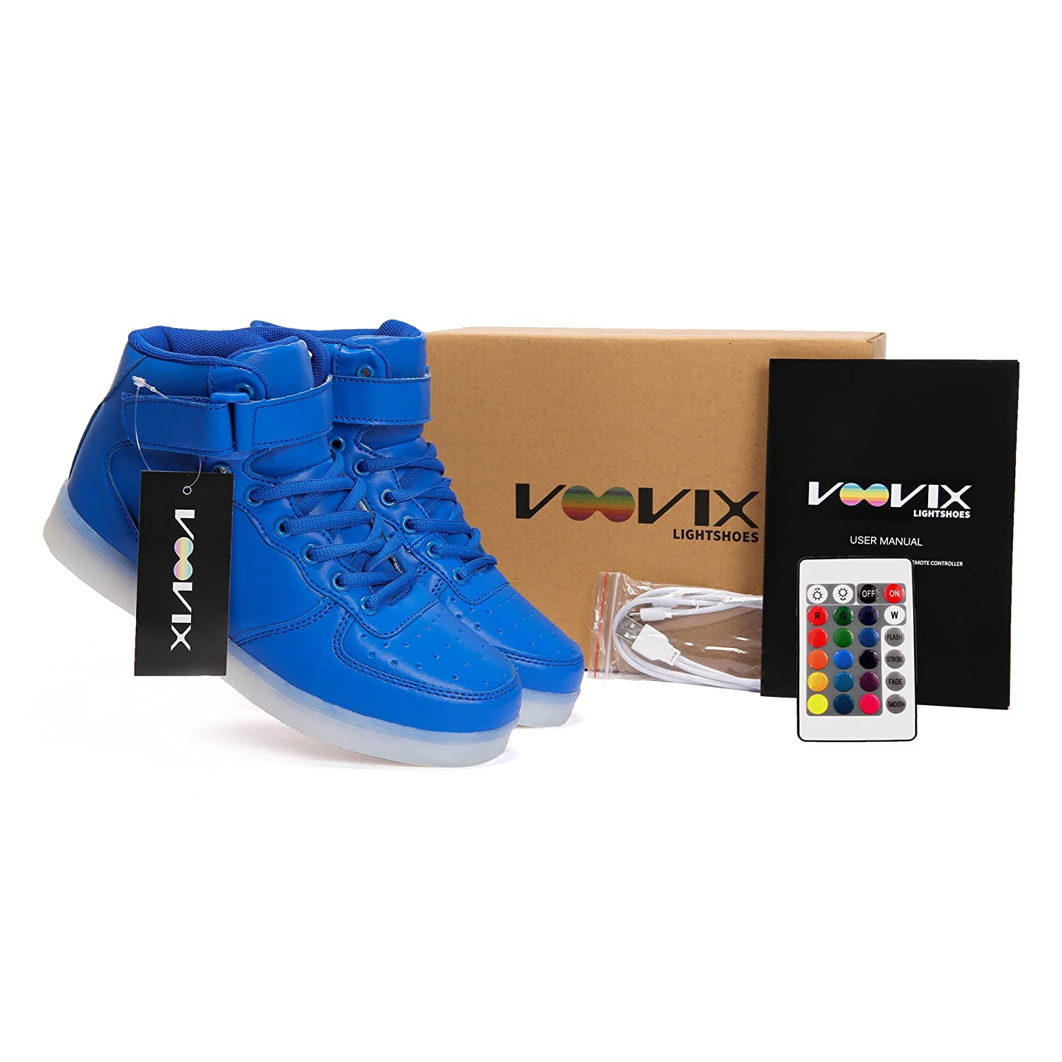 Voovix Kids LED Light Up Shoes USB Charging Flashing High-top Sneakers with Remote Control for Boys and Girls