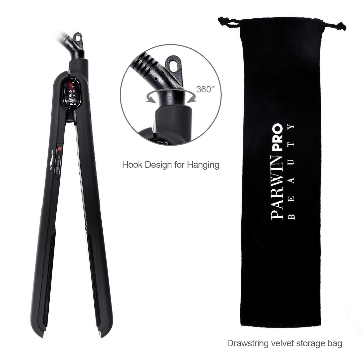 PARWIN PRO 1 Inch Pro Flat Iron for Hair with PTC Heating Temperature Control Straightener,Black