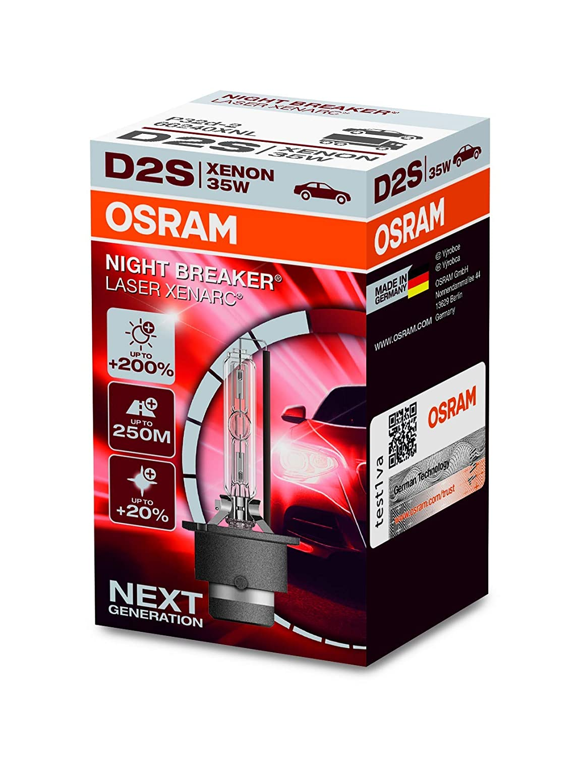 HID xenon bulb OSRAM XENARC NIGHT BREAKER LASER D2S folding box 200/% more brightness discharge lamp 66240XNL 1 lamp