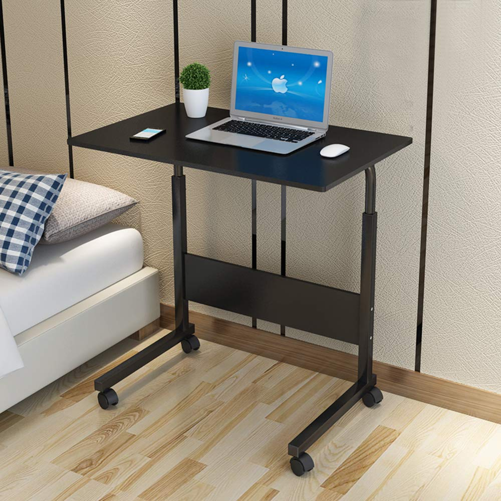 SSLine Rolling Sofa Side Snack Table Portable Laptop Computer Desk Stand with Wheels, Height Adjustable Mobile TV Breakfast Tray Bedside Slim Coffee Table, Wood Desktop with Metal Frame by SSLine