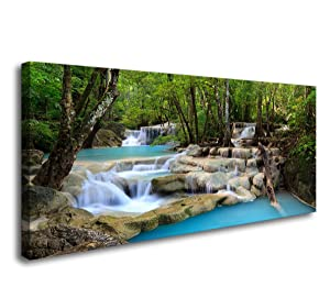 S01574 1 Panels Wall Art Tropical Beautiful Waterfall Prints Light Green Forest Natural Landscape Picture Canvas Paintings Scenery Spring Summer Landscape for Home Wall Decor Artwork XXLarge