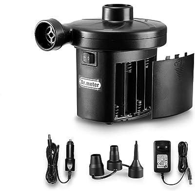 Dr.meter Inflador Electrico, Bomba de inflado eléctrica con batería Inflado/Desinflado. Ideal para inflado rápido de Camas de Aire, neumáticos, flotadores de Piscina, Baterías CA 220V / DC 12V
