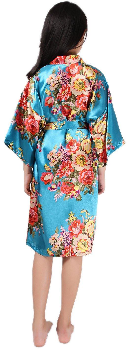 Shiny Toddler Little/Big Girls Floral Satin Robe Flower Girl Lounge Bathrobe