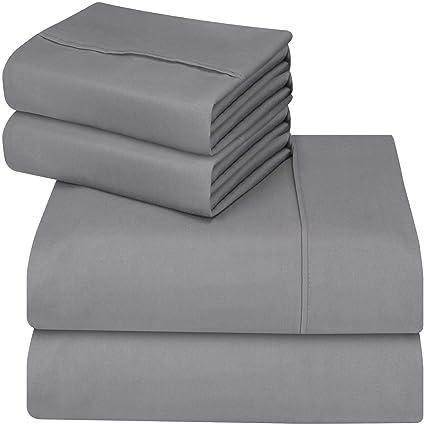 Amazon Com Utopia Bedding 4 Piece Queen Bed Sheet Set Grey Home Kitchen
