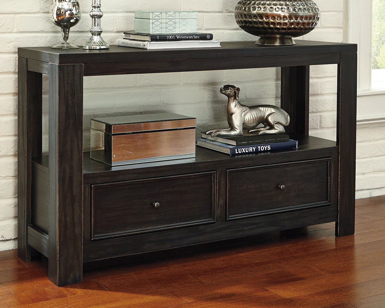 Ashley Furniture Signature Design – Gavelston Sofa Table Rubbed, Black