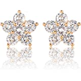 6 Round Cubic Zirconia Flower Shaped Stud Earrings with 18K Yellow Gold Plated for Girls and Women