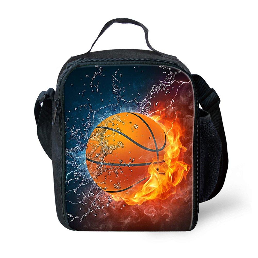 FOR U DESIGNS ファッションカラフルアニマルプリントランチバッグボックス キッズ 男の子 女の子 学校用 One-Size オレンジ P1241G  Flame Basketball B07DWZLRSX