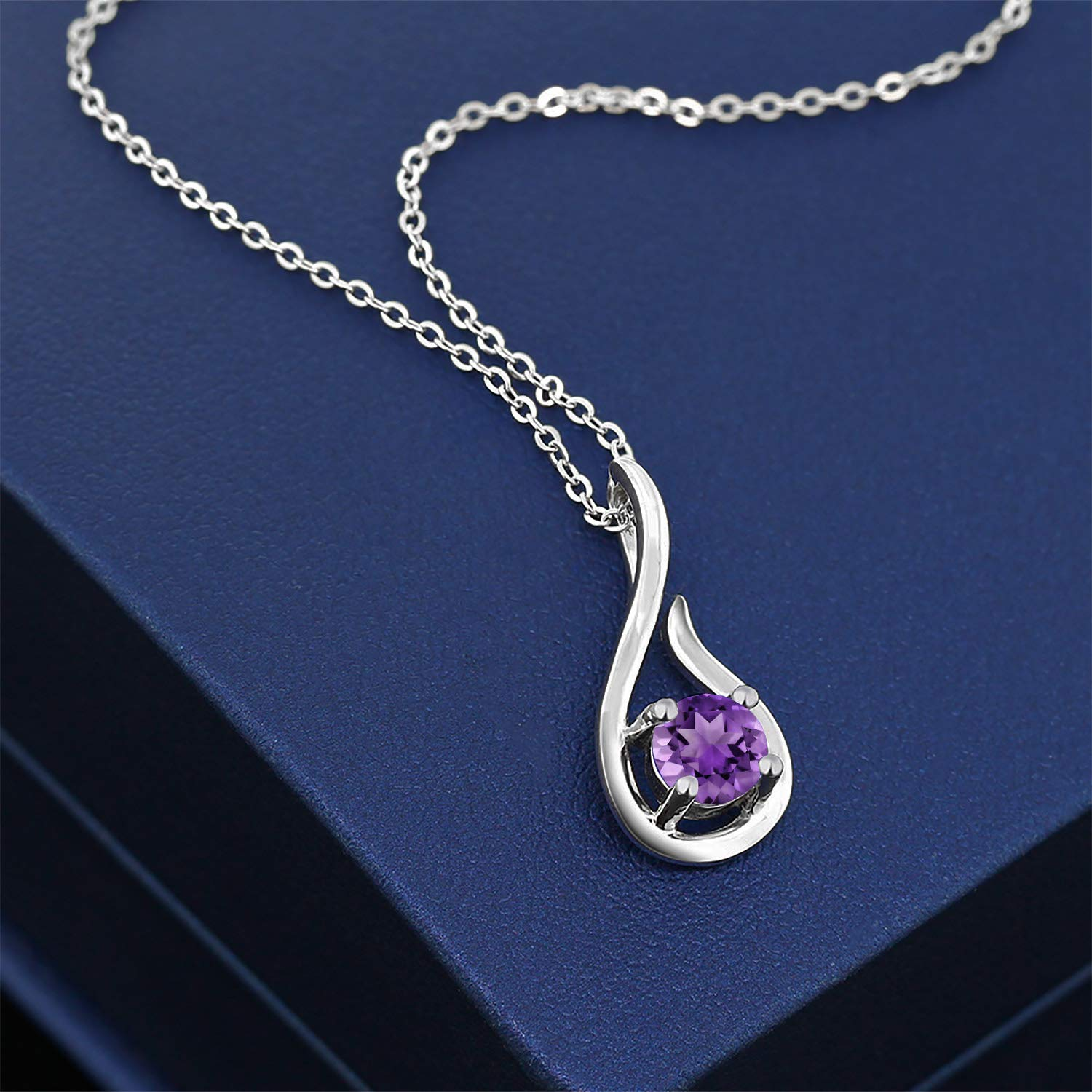 Gem Stone King 925 Sterling Silver Gemstone Birthstone Raindrop Pendant Necklace With 18 Inch Silver Chain