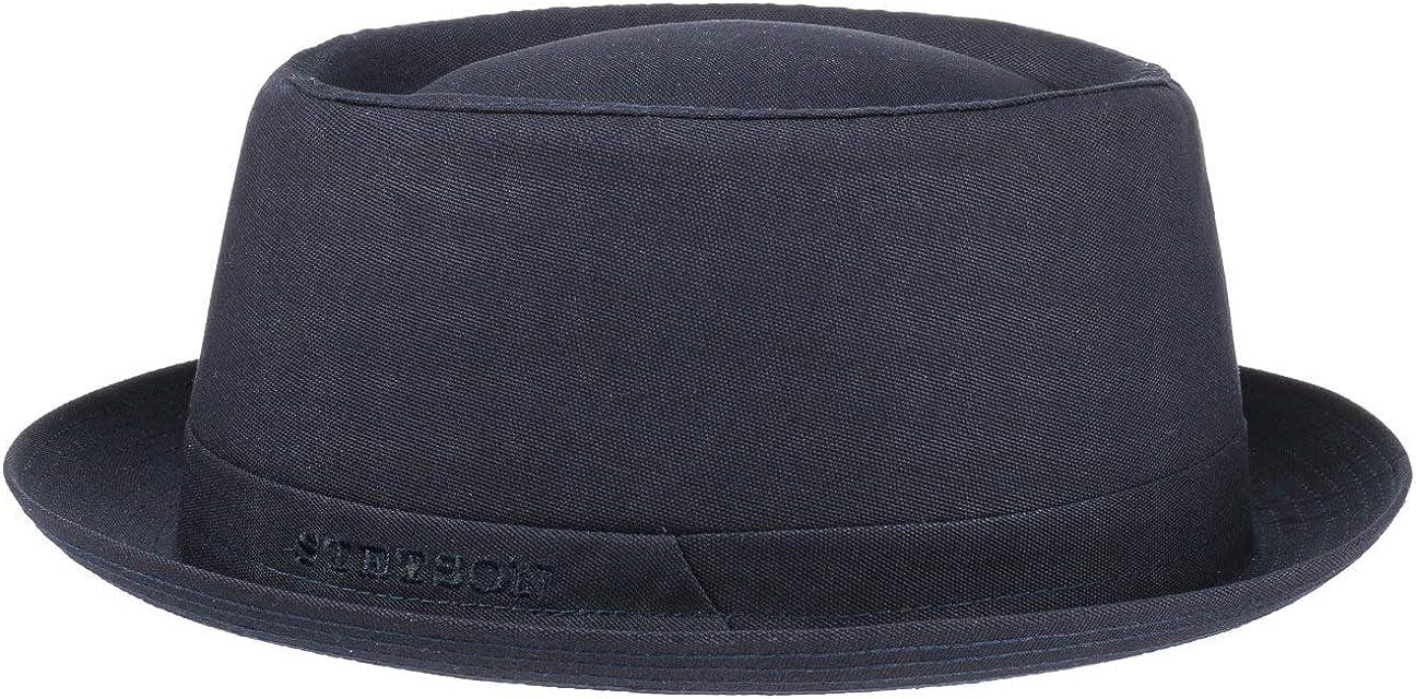 Stetson Athens Cotton Porkpie Sombrero Mujer/Hombre - Sombrero de Tela de algodón - Pork Pie Fabricado en Italia - Invierno/Verano - con Forro Interior -