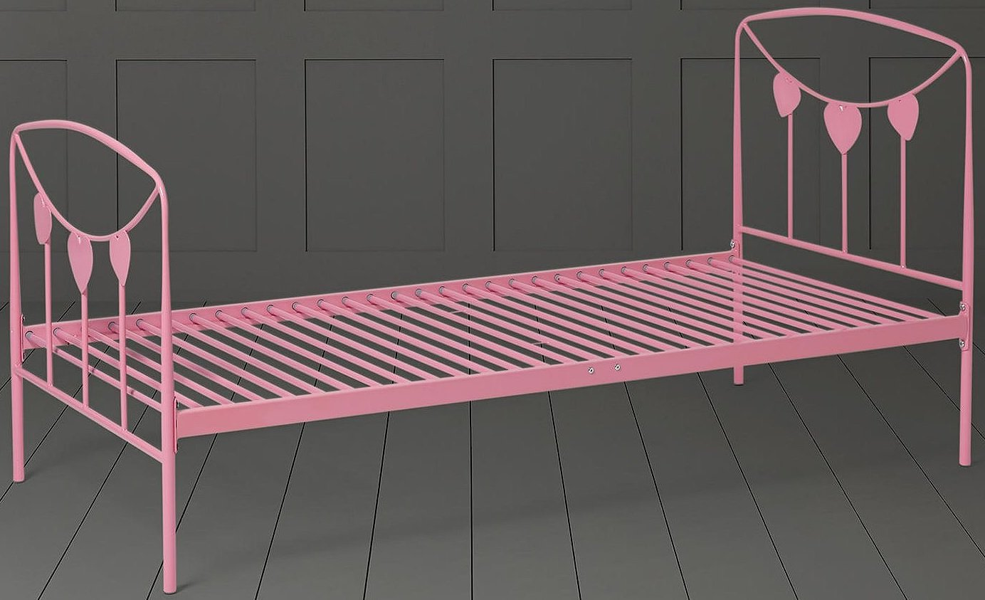 Tesco NEW Kids Star Single Metal Bed Frame with Headboard & Footboard (Pink)