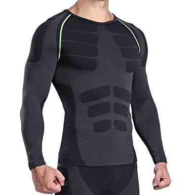 NO LABEL Mens Long Sleeve Compression Shirt Top Baselayer with Sleeves -  Cool Compressed Under Base Layer Skins Rashguard T-Shirt Black Winter  Running ... 6f68e669497d