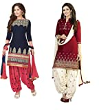 V.K.Creation Women's Silk Cotton Salwar Suit Dress Material (VK665_Multi-Coloured)