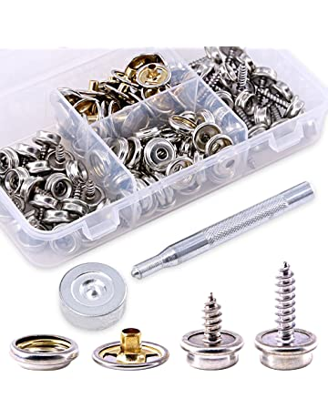4bab06bff Glarks 120-Pieces Stainless Steel Marine Grade Canvas and Upholstery Boat  Cover Snap Button Fastener